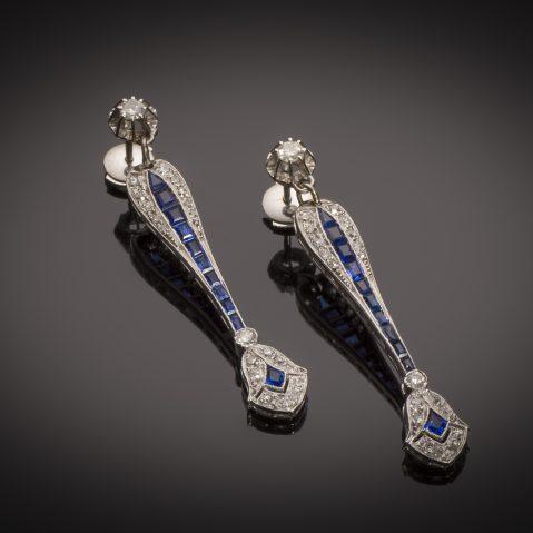 Boucles d'oreilles diamants saphirs calibrés Art Déco