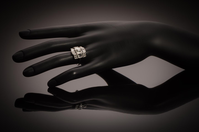 Bague Art Déco diamants (2,20 carats, centre 1,03 carat)-3