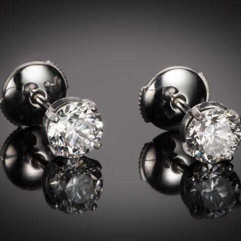 Boucles d'oreilles diamants brillant (1,80 carat, 2 x 90 carat – Blanc exceptionnel – Certificat IGI)