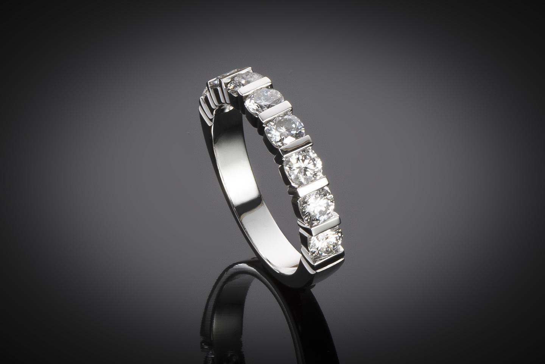 Demi-alliance diamants (Certificat IGI D SI1)-1