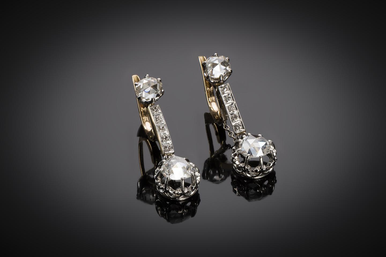 Boucles d'oreilles diamants vers 1900-1