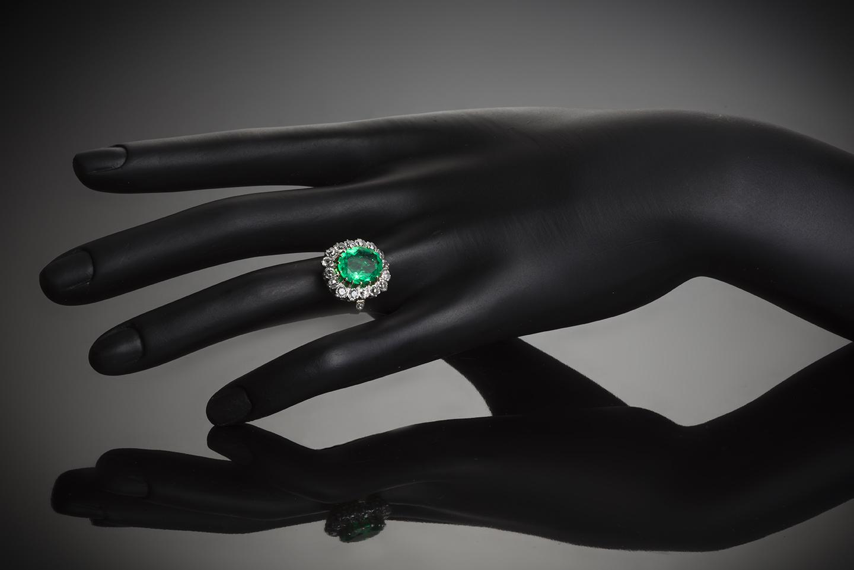 Bague début XXe siècle émeraude Colombie (certificat CGL) diamants-3