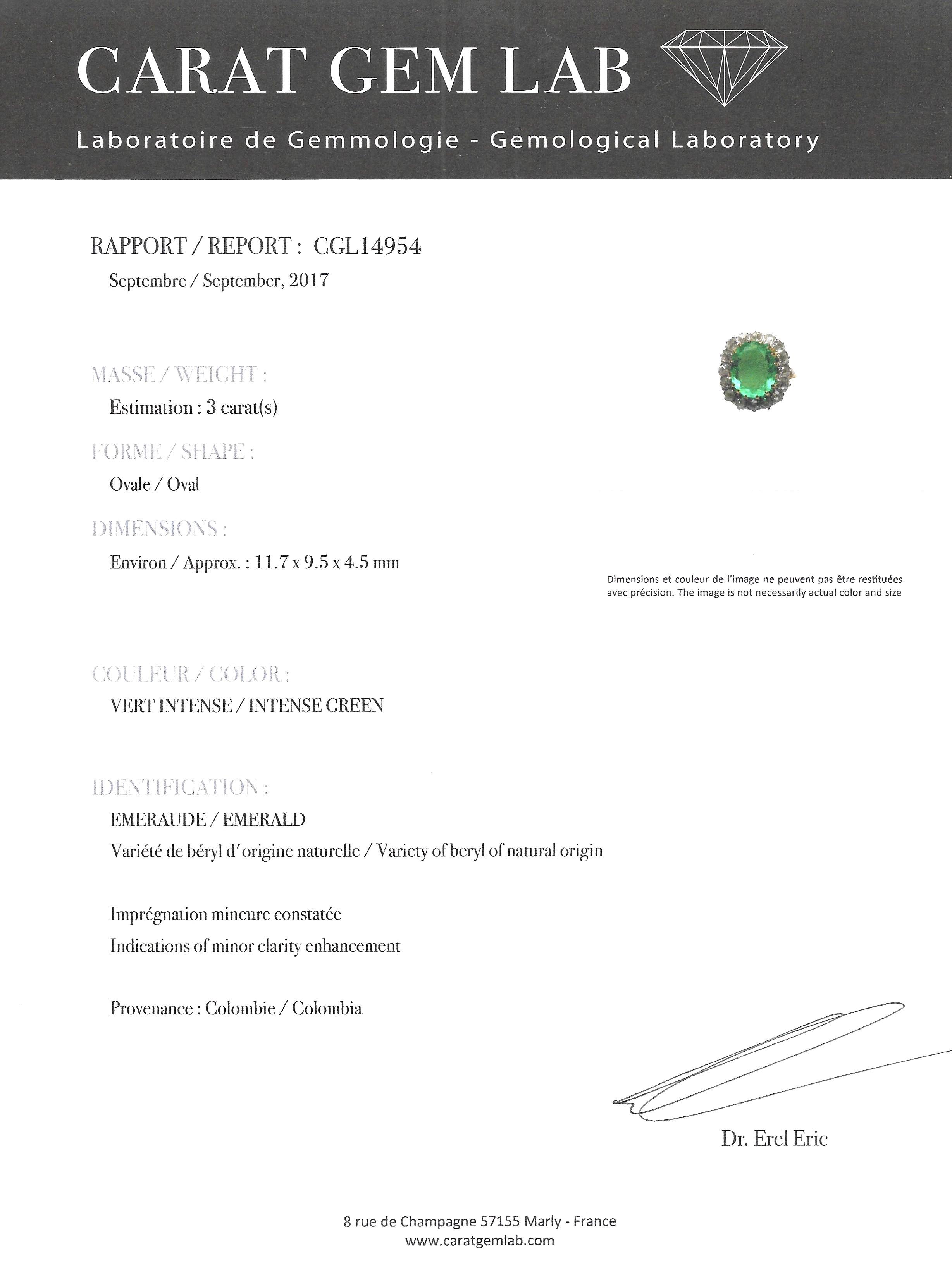 Bague début XXe siècle émeraude Colombie (certificat CGL) diamants-4