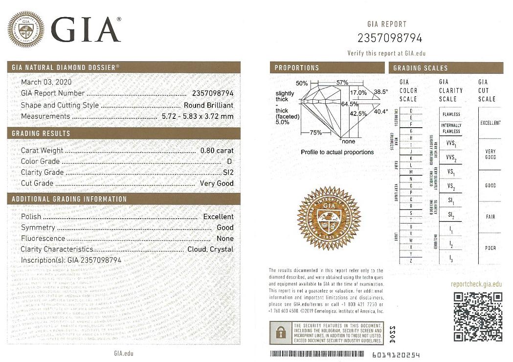 Pendentif et sa chaine diamant brillant (0,80 carat – certificat GIA – Blanc exceptionnel +)-3