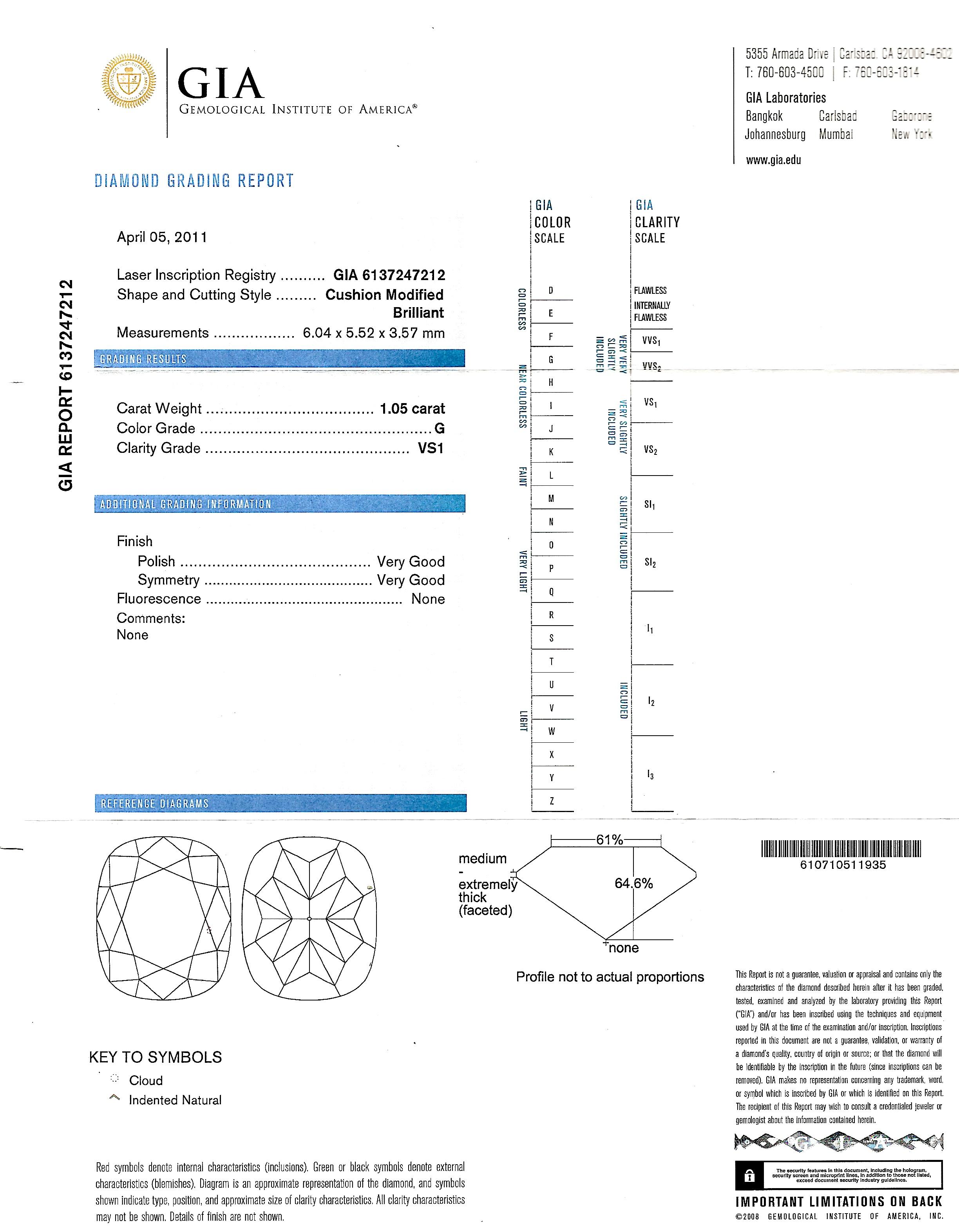 Bague diamant coussin 1,05 carat (certificat GIA – G VS1)-2