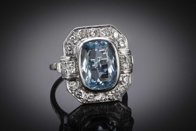 Bague Art Déco aigue-marine (5 carats) diamants-1