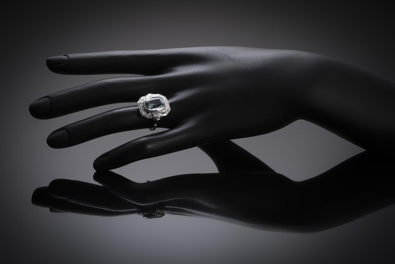 Bague Art Déco aigue-marine (5 carats) diamants-2