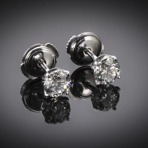 Boucles d'oreilles diamants (1,40 carat, 2 x 70 carat – E SI1, pas de fluorescence Certificats IGI)