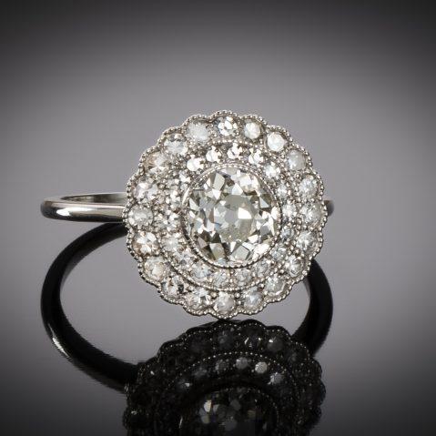 Bague diamants (principal ancienne 1,02 carat) Art Déco