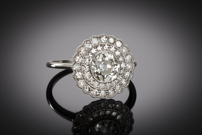 Bague diamants (principal ancienne 1,02 carat) Art Déco-1