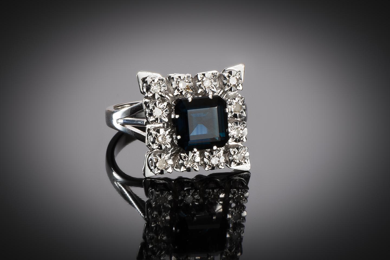 Bague saphir diamants vers 1950 – 1960-1
