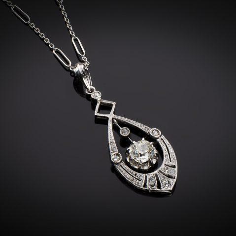 Pendentif et sa chaîne Art Déco diamants (principal 1 carat)