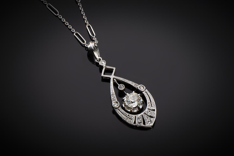 Pendentif et sa chaîne Art Déco diamants (principal 1 carat)-1