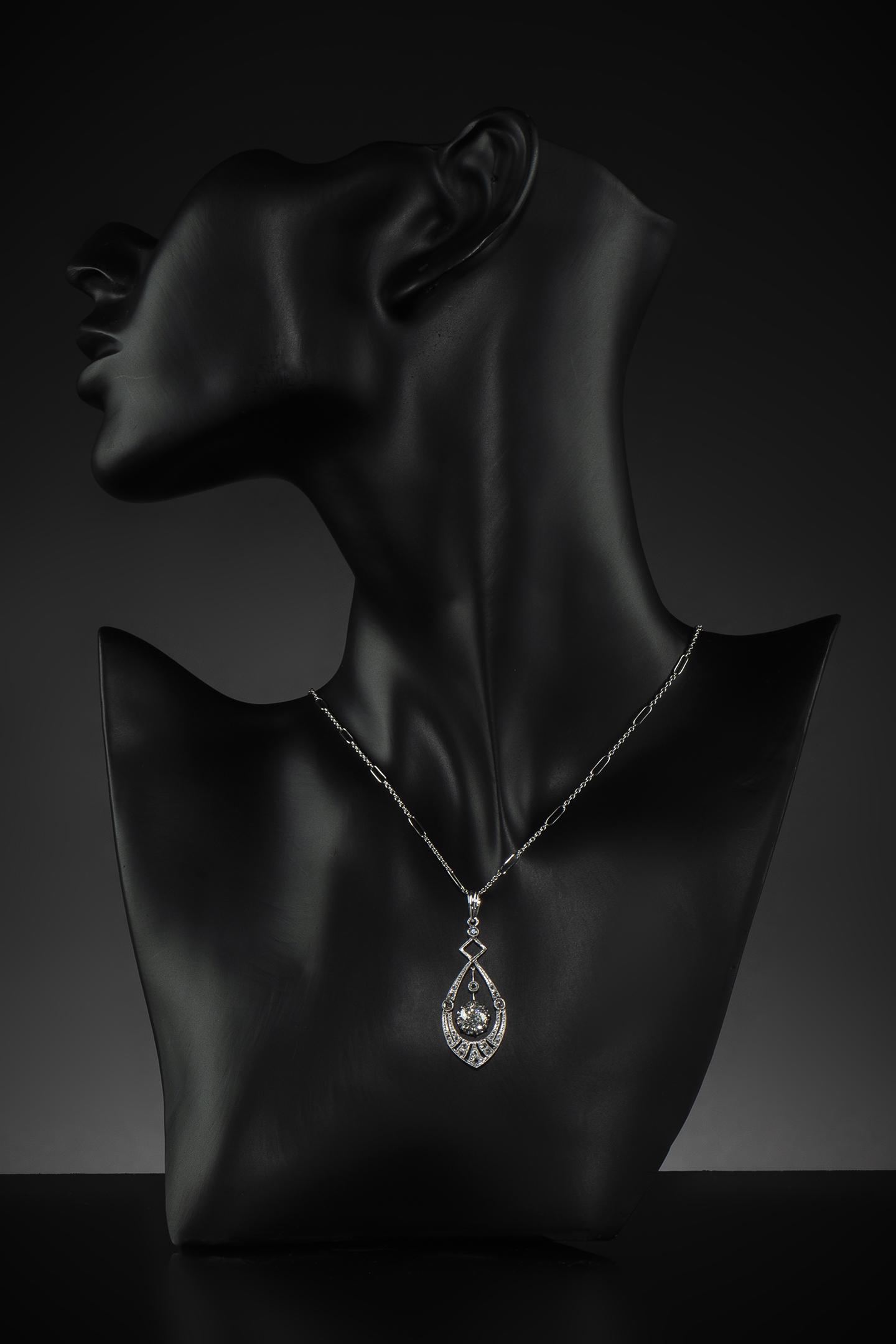 Pendentif et sa chaîne Art Déco diamants (principal 1 carat)-2