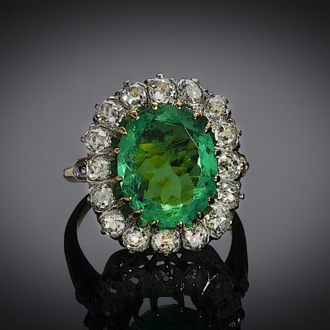 Bague début XXe siècle émeraude Colombie (certificat CGL) diamants