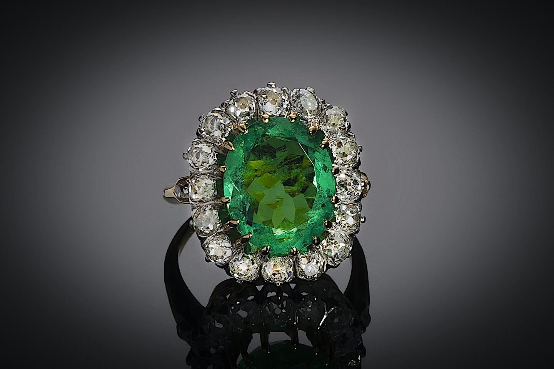 Bague début XXe siècle émeraude Colombie (certificat CGL) diamants-1