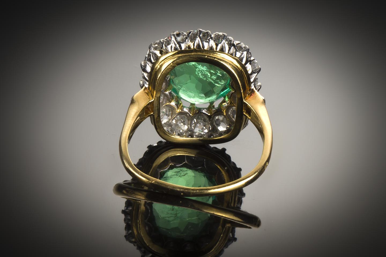 Bague début XXe siècle émeraude Colombie (certificat CGL) diamants-2