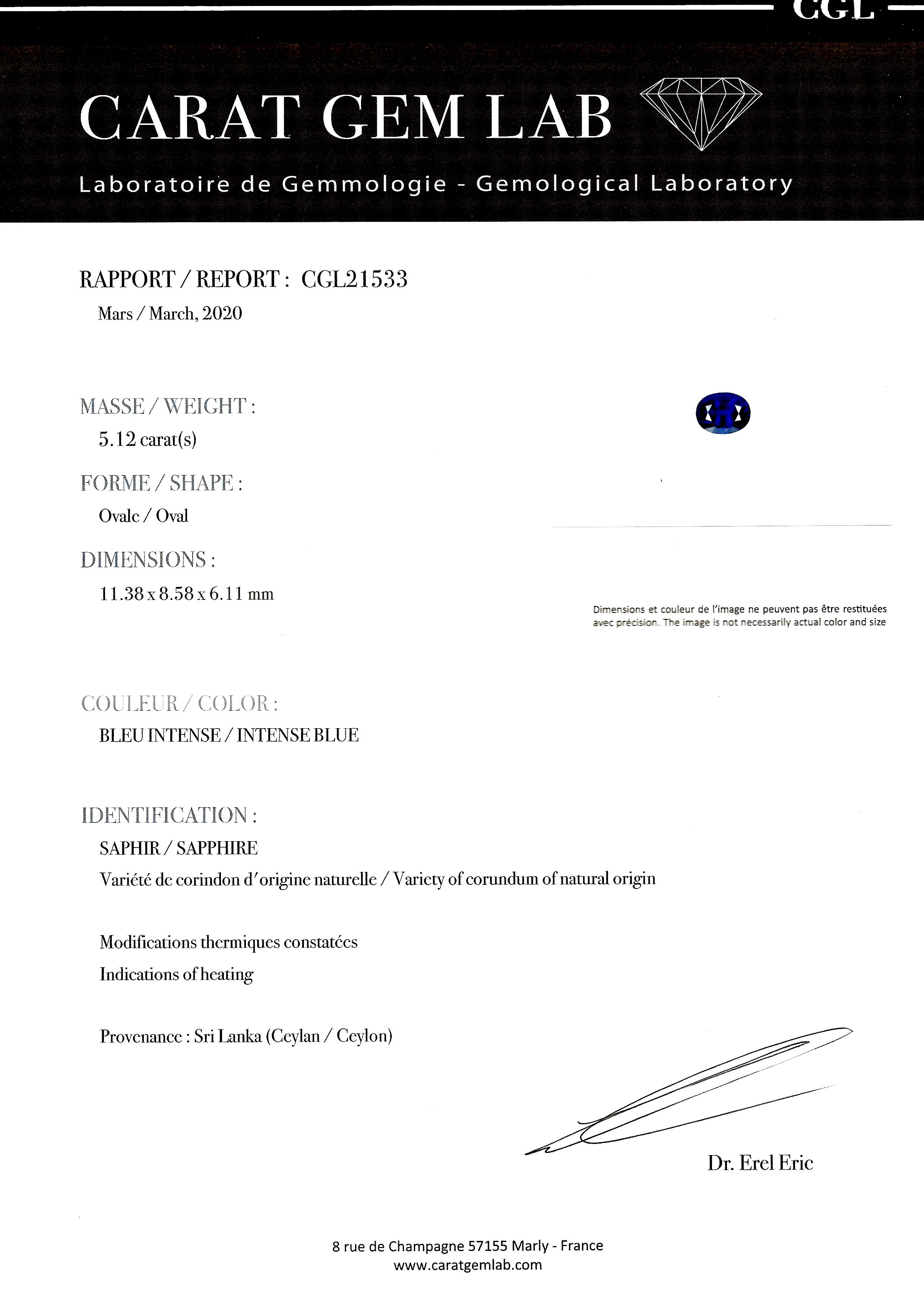 Bague Art Déco saphir 5, 12 carats, bleu intense (certificat laboratoire CGL) diamants-5