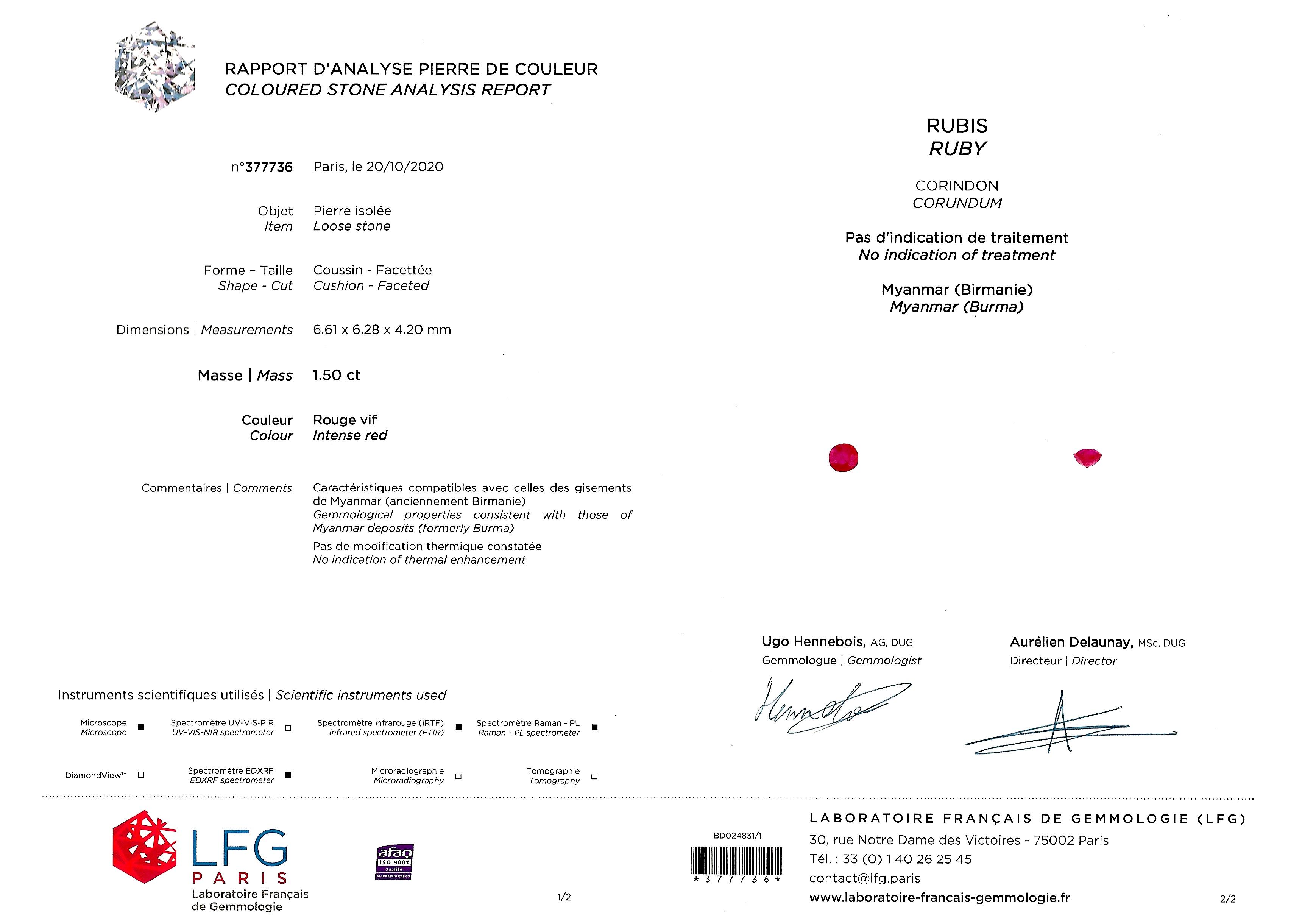 Bague Art Déco rubis birman naturel, rouge vif (certificat LFG) diamants-4