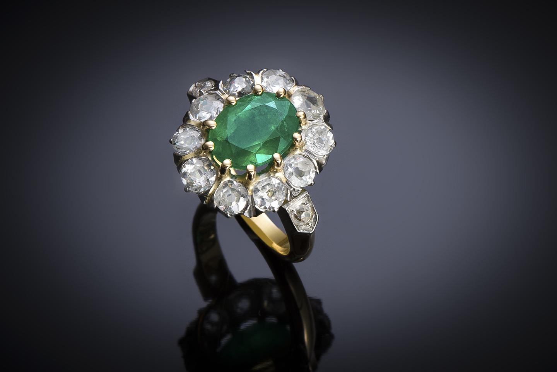 Bague émeraude vert intense (certificat laboratoire) diamants début XXe siècle-1