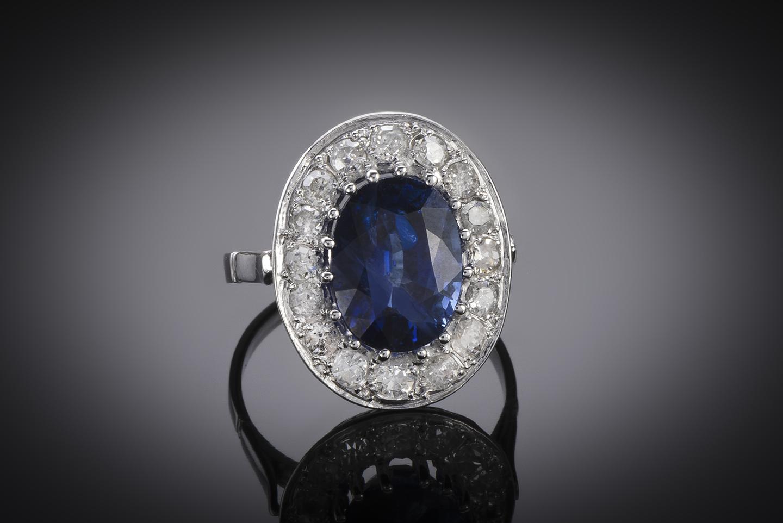 Bague Art Déco saphir 5, 12 carats, bleu intense (certificat laboratoire CGL) diamants-2