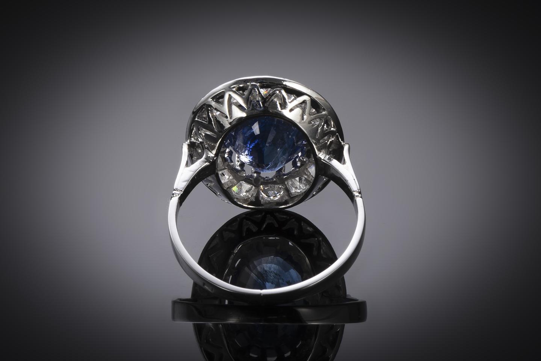 Bague Art Déco saphir 5, 12 carats, bleu intense (certificat laboratoire CGL) diamants-3