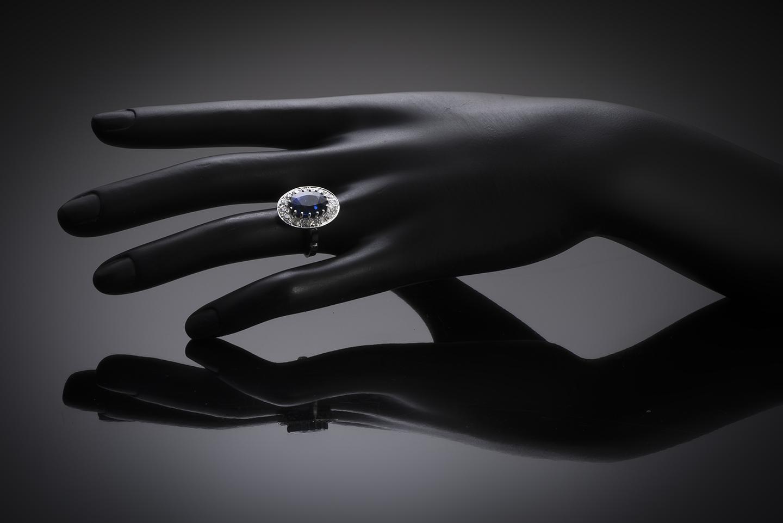 Bague Art Déco saphir 5, 12 carats, bleu intense (certificat laboratoire CGL) diamants-4