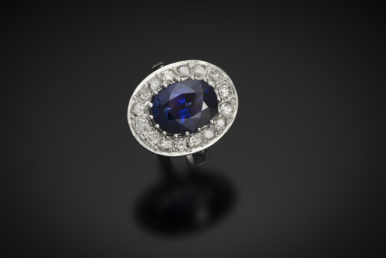 Bague Art Déco saphir 5, 12 carats, bleu intense (certificat laboratoire CGL) diamants-1