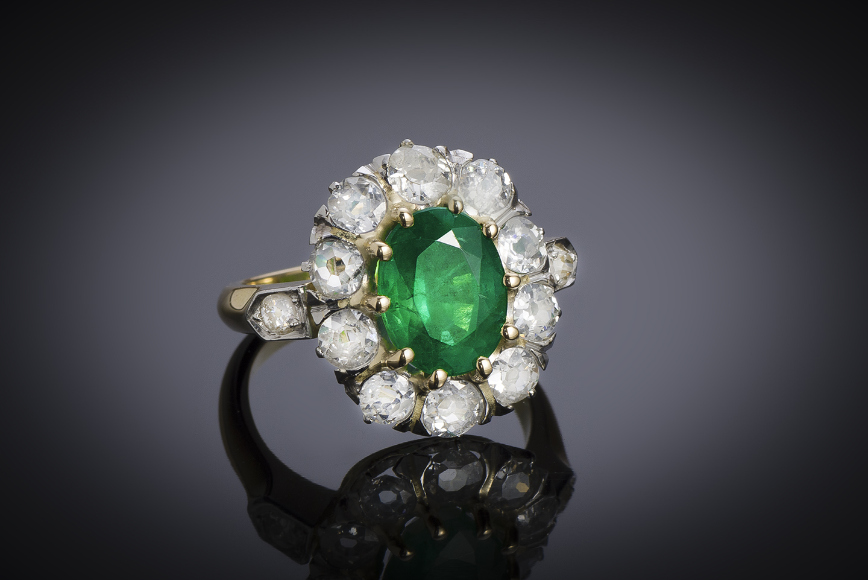 Bague émeraude vert intense (certificat laboratoire) diamants début XXe siècle-2