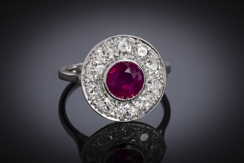 Bague Art Déco rubis birman naturel, rouge vif (certificat LFG) diamants-1