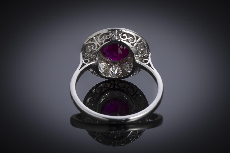 Bague Art Déco rubis birman naturel, rouge vif (certificat LFG) diamants-2