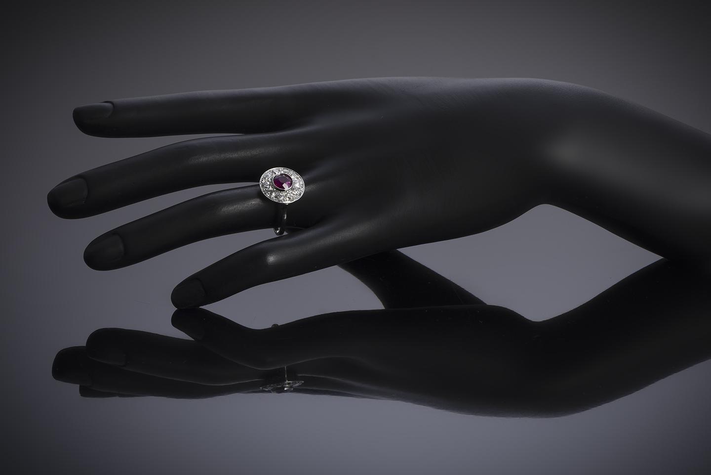 Bague Art Déco rubis birman naturel, rouge vif (certificat LFG) diamants-3