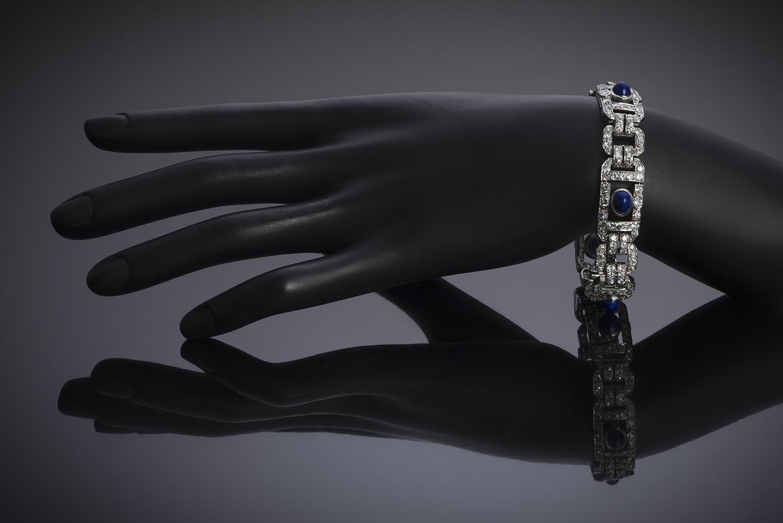 Bracelet Art Déco diamants lapis-lazuli-3