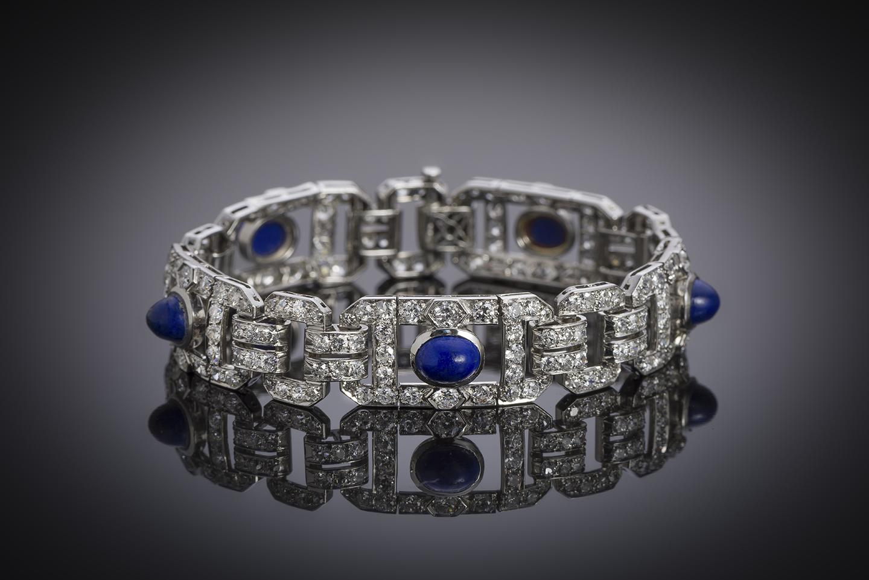 Bracelet Art Déco diamants lapis-lazuli-2