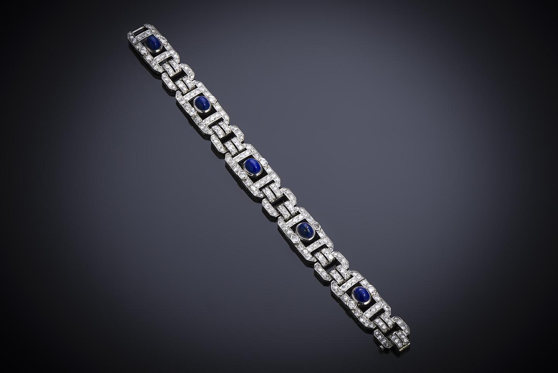 Bracelet Art Déco diamants lapis-lazuli-1
