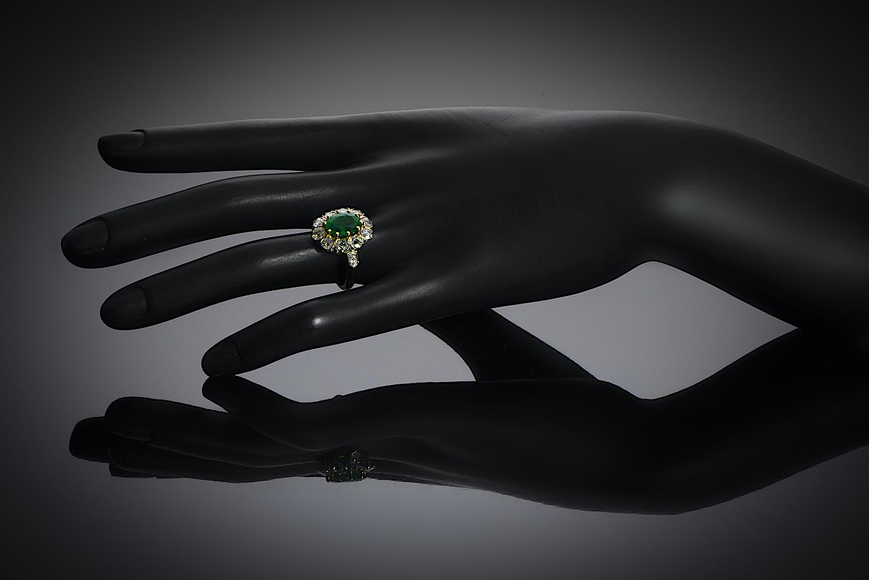 Bague émeraude vert intense (certificat laboratoire) diamants début XXe siècle-4