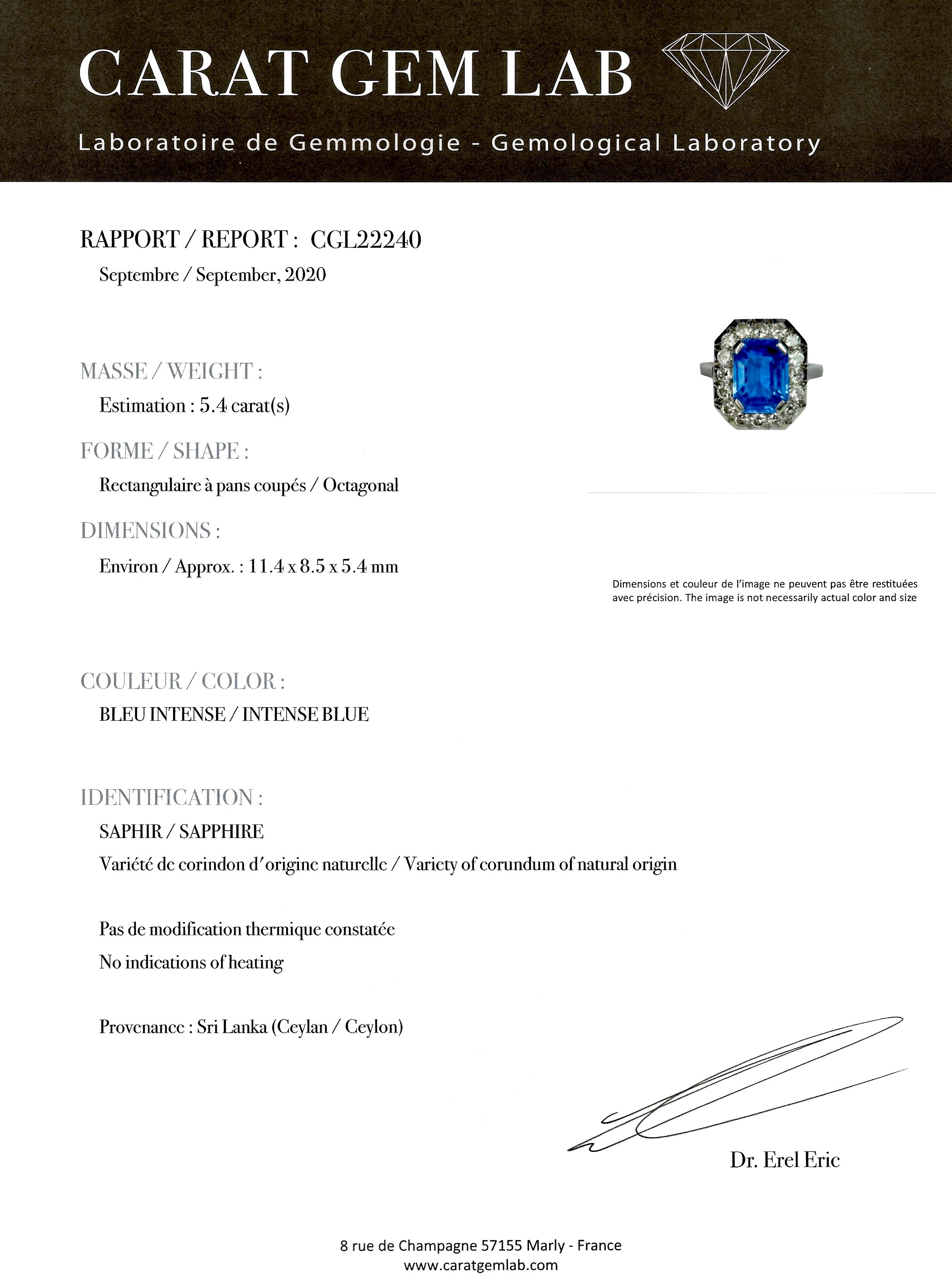 Bague Art Déco saphir naturel bleu intense (5,40 carats, certificat CGL) diamants-5