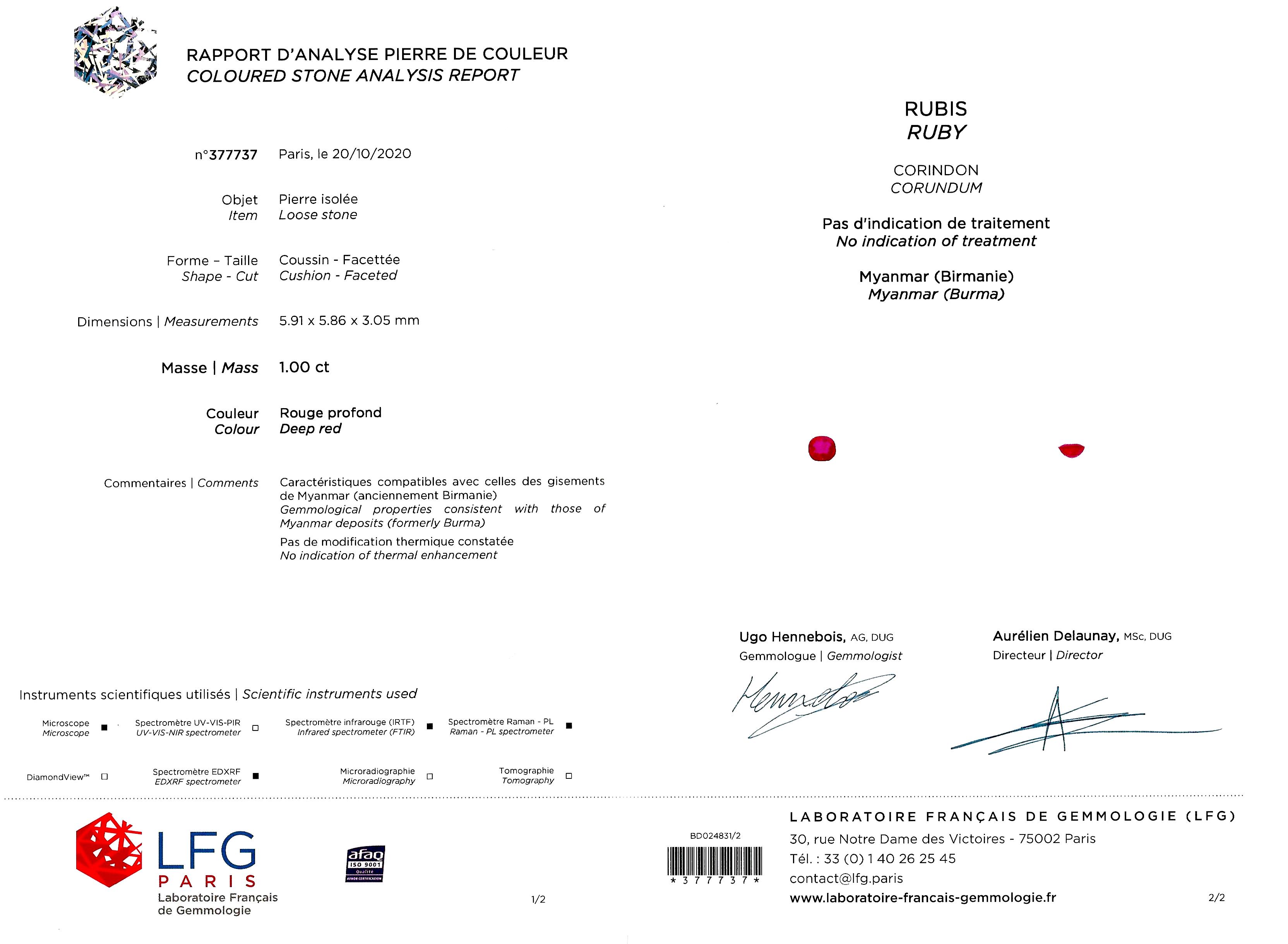 Bague Art Déco rubis birman naturel, rouge profond (certificat LFG) diamants-4