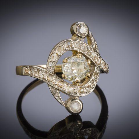 Bague diamants (1,10 carat) fin XIXe siècle