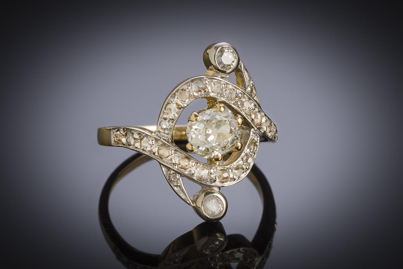 Bague diamants (1,10 carat) fin XIXe siècle-1