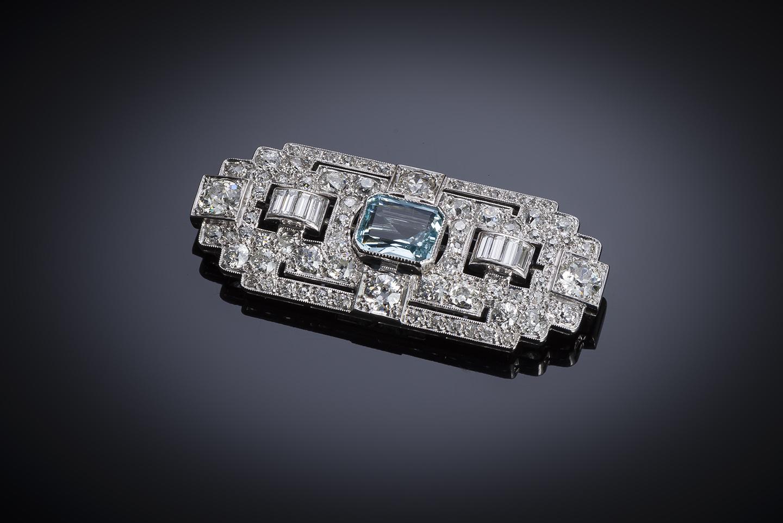 Broche Art Déco diamants (4,5 carats) et aigue-marine (3,2 carats)-1