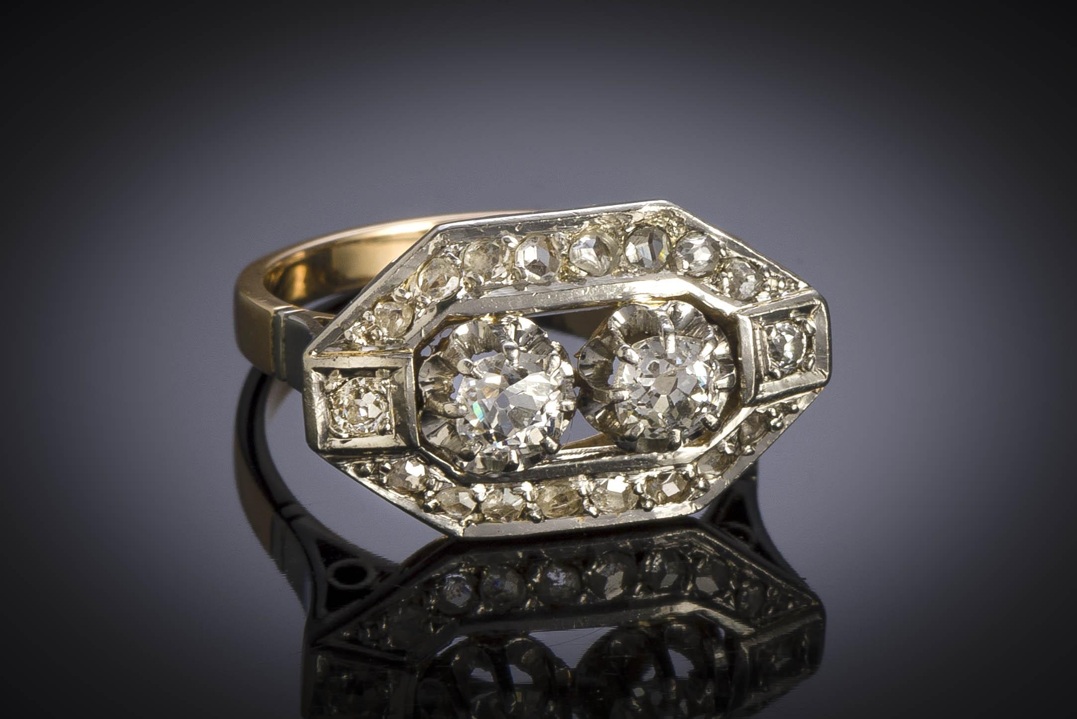 Bague Art Déco diamants (1,10 carat)-2
