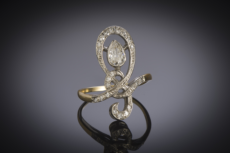 Bague début XXe siècle diamants (1 carat)-1