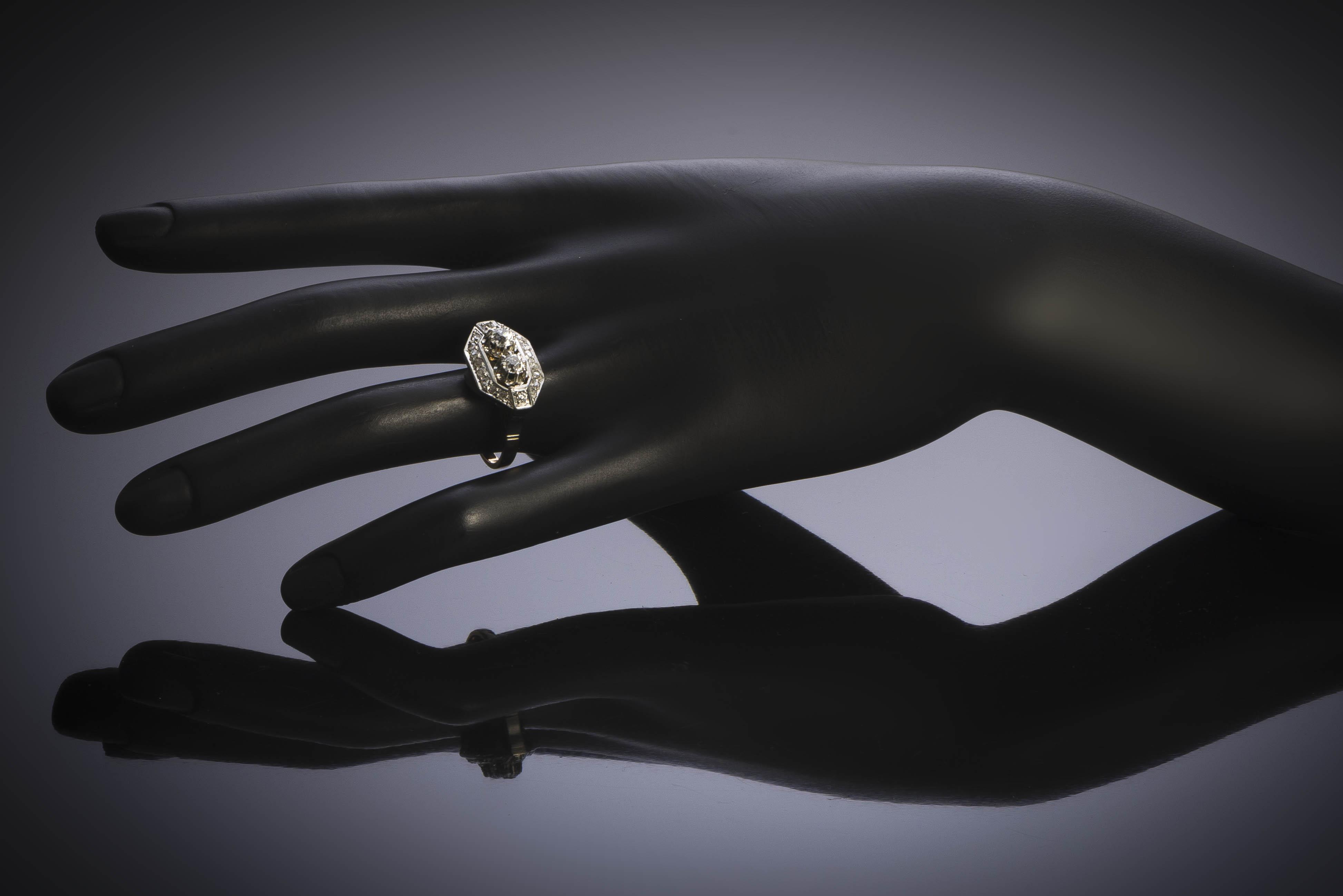 Bague Art Déco diamants (1,10 carat)-3