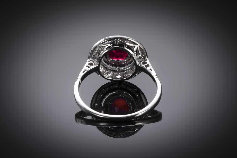 Bague Art Déco rubis birman naturel, rouge profond (certificat LFG) diamants-2