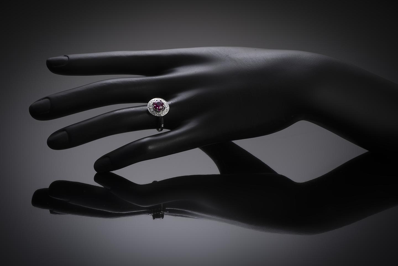 Bague Art Déco rubis birman naturel, rouge profond (certificat LFG) diamants-3