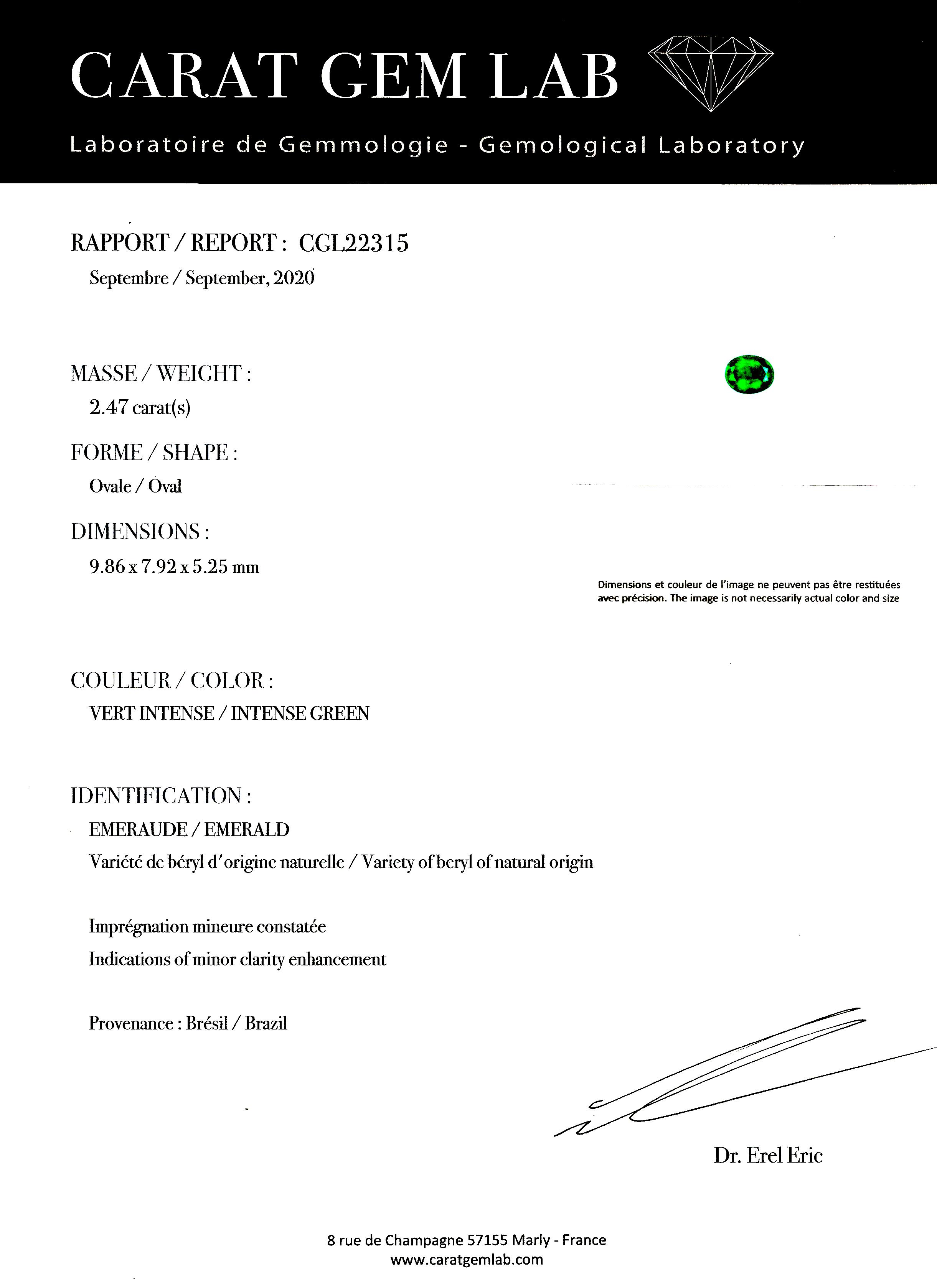 Bague émeraude vert intense (2,47 carats – Certificat CGL) diamants (1,50 carat)-3