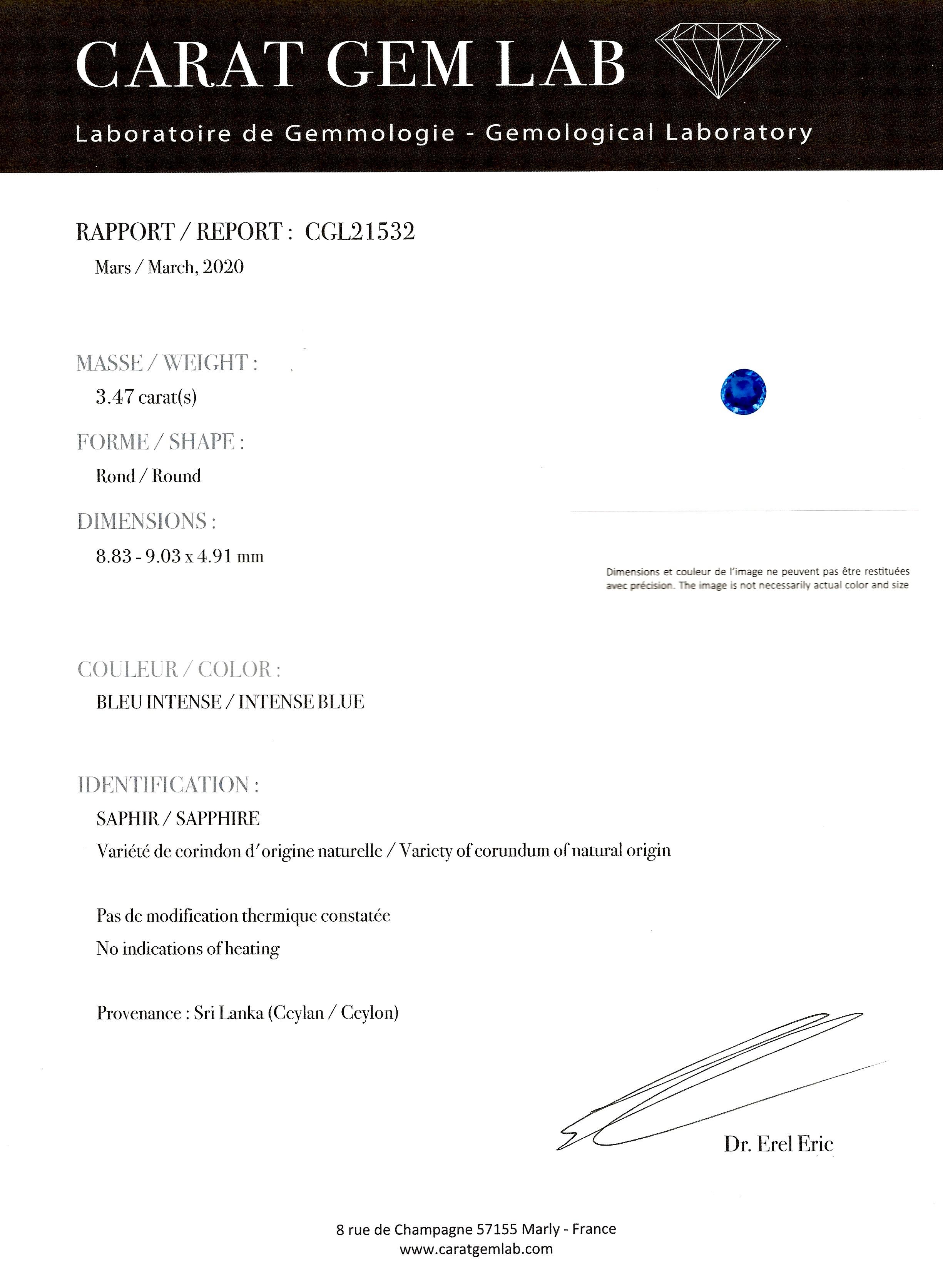 Bague saphir naturel bleu intense (3,47 carats, certificat laboratoire) diamants, début XXe siècle-4