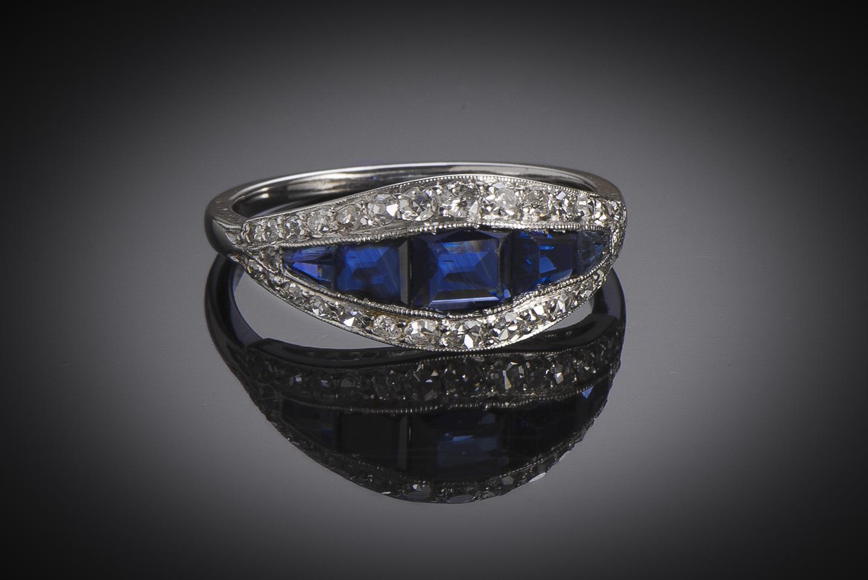Bague Art Déco saphirs diamants-1