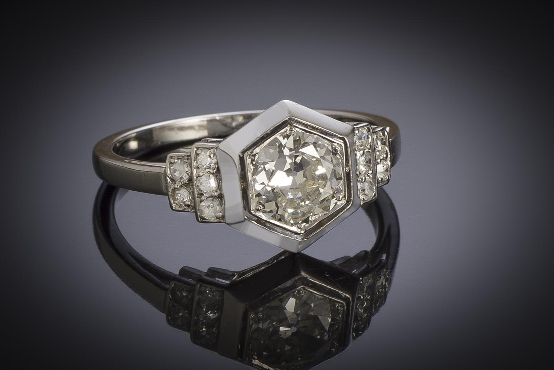 Bague Art Déco diamants (1,10 carat centre 0,90 carat)-2